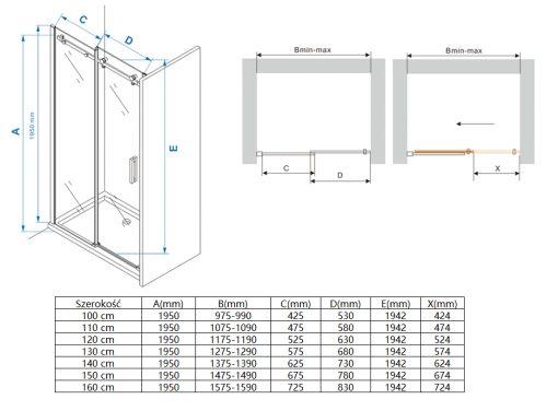 Drzwi prysznicowe przesuwne LEYDEN DSV200